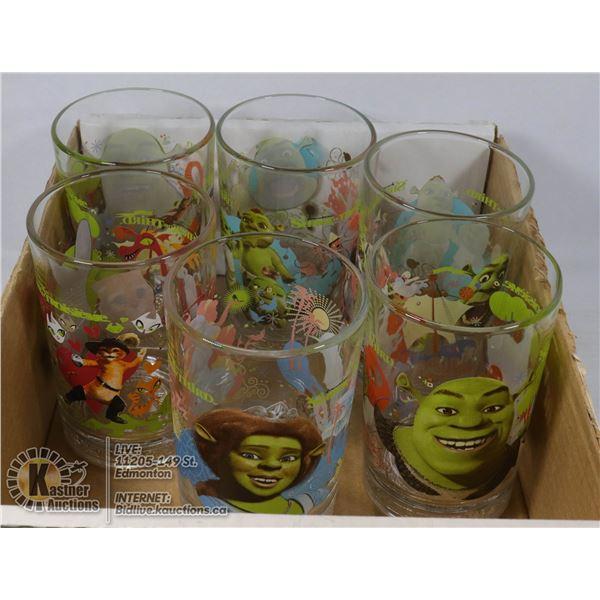 FLAT OF 6 LARGE SHREK GLASSES