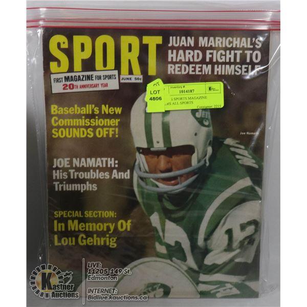 4 X 1960'S SPORTS MAGAZINE COVERS ALL SPORTS