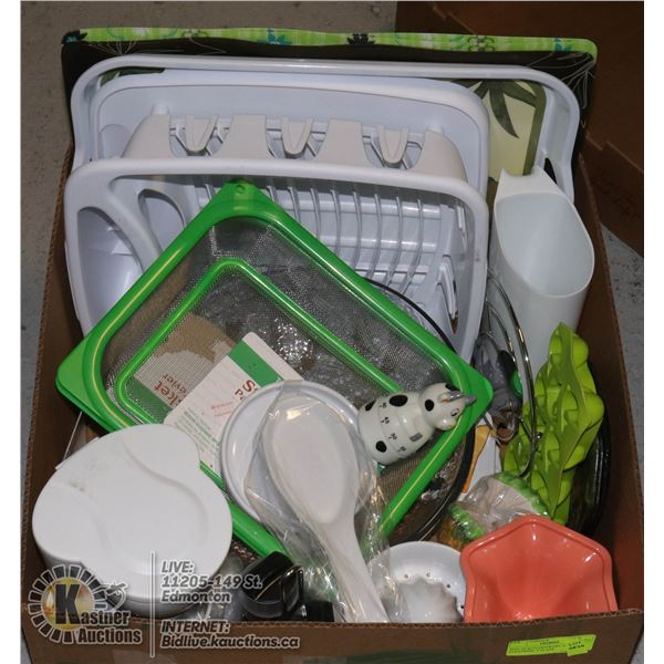 BOX OF KITCHENWARE INCL. STRAINERS, 2 GLASS