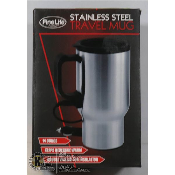 NEW ELECTRIC 14OZ STAINLESS STEEL TRAVEL MUG WITH