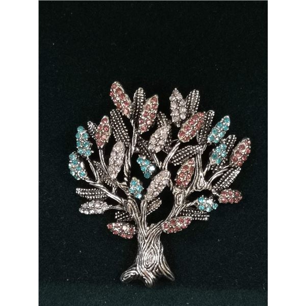 TREE OF LIFE RHINESTONE BROOCH