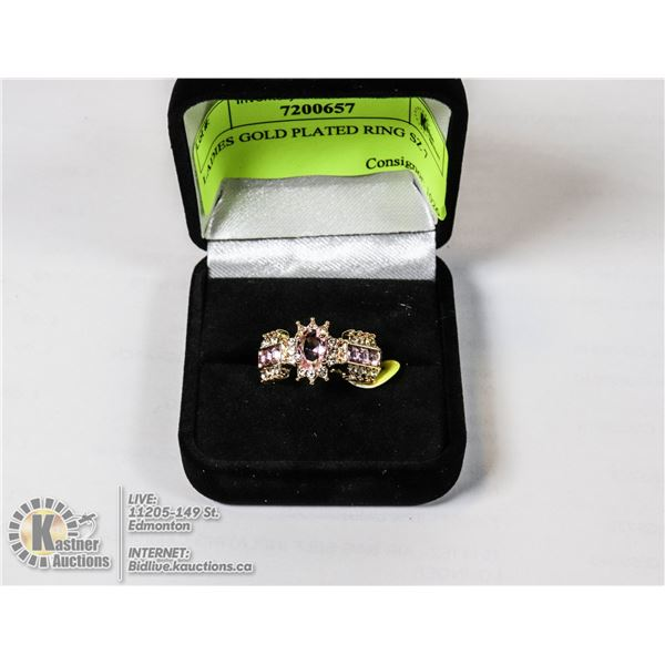 LADIES GOLD PLATED RING SZ 7