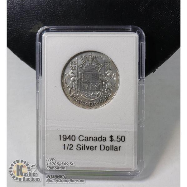 1940 CANADIAN SILVER 1/2 DOLLAR