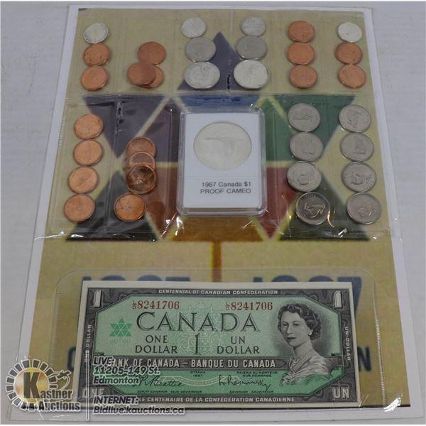 1967 COIN COLLECTION, OVER $3.00 IN CENTENNIAL