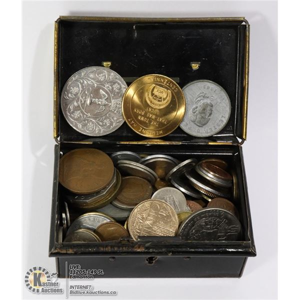 MIXED COIN COLLECTION IN VINTAGE LOCK BANK