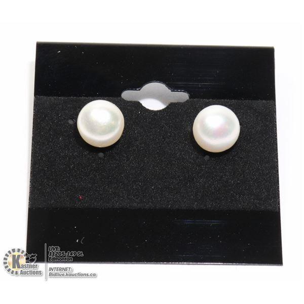 #267-FRESH WATER PEARL STUD EARRINGS 9-10mm