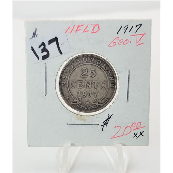 32)  NEWFOUNDLAND 1917 SILVER 25 CENT COIN