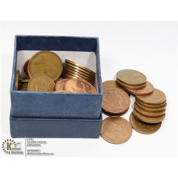 BOX OF OLDER GREAT BRITAIN 2 PENCE/NEW PENCE COINS