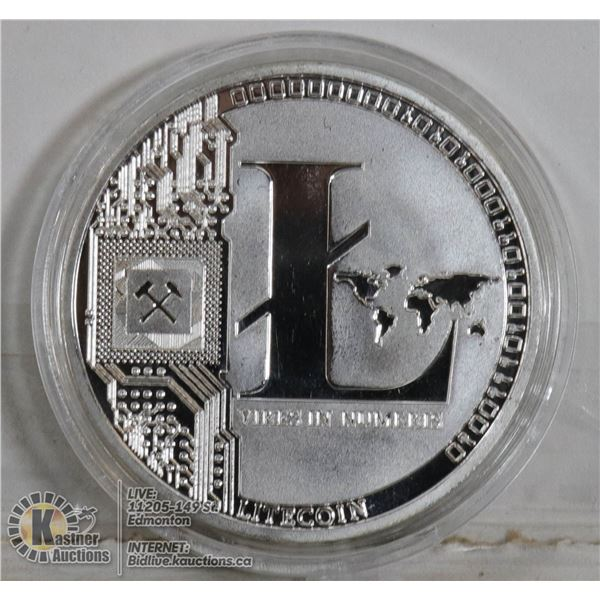 SILVER PLATED LITECOIN CRYPTO COIN IN CASE