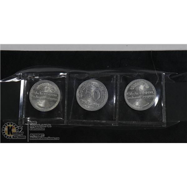 3 1921 NAZI 3RD REICH COINS
