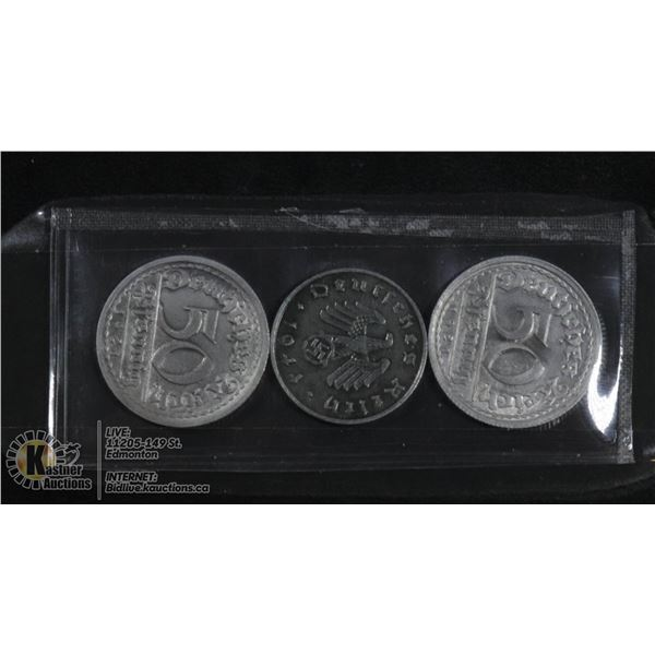 3 NAZI REICH COINS INCLUDING SILVER