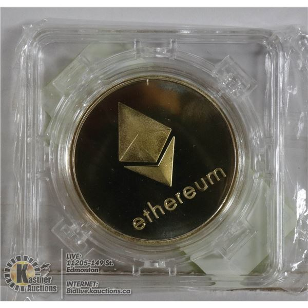 GOLD PLATED ETHEREUM COIN IN ROTATING CASE