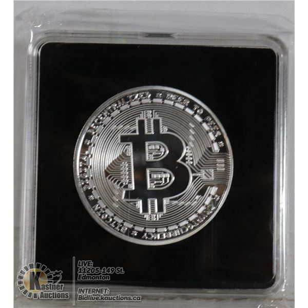 SILVER PLATED BITCOIN IN PROTECTIVE CASE