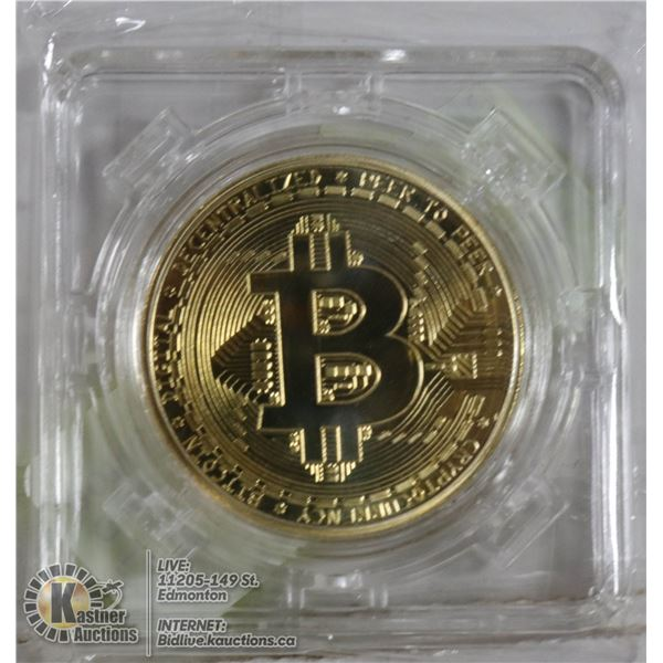 GOLD PLATED BITCOIN IN ROTATING CASE