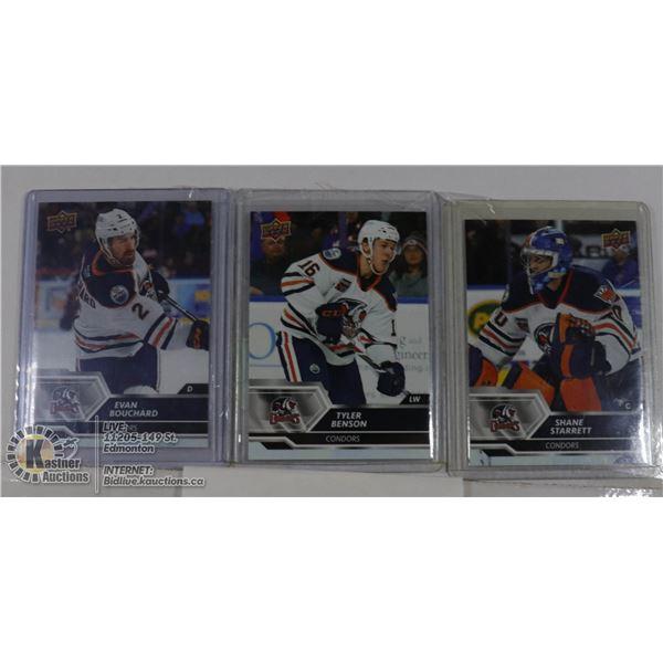 3 EDMONTON OILER PROSPECTS AHL CARDS