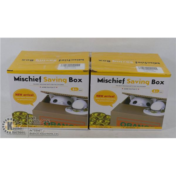 LOT OF 2 MISCHIEF SAVINGS BOX