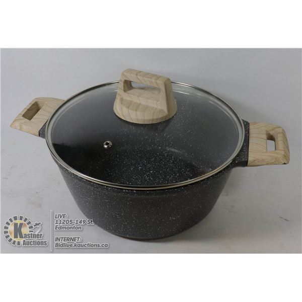 NEW CAROTE STONEWARE POT WITH LID