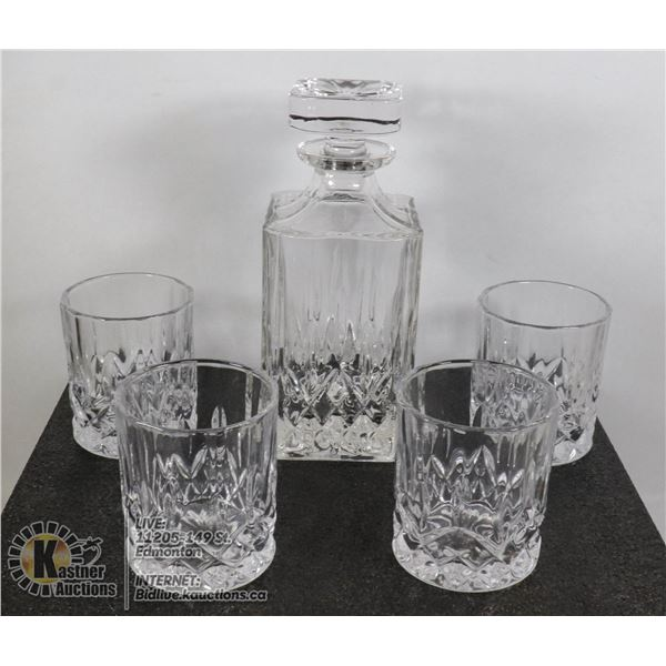 5PC ULTRA CLARITY CRYSTAL DECANTER & GLASSES SET