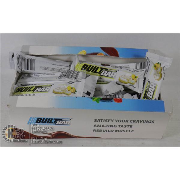 BOX OF BUILT BAR ENERGY/PROTEIN BARS