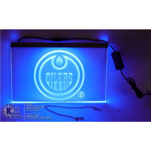 """NEW LIGHTED NEON SIGN """"OILERS"""" LOGO"""