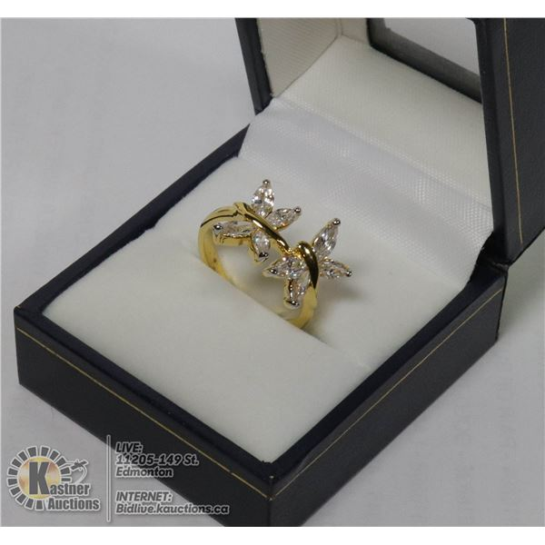 PAIR OF BUTTERFLIES RING APPROX SIZE 7
