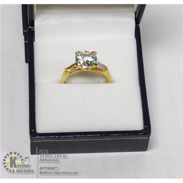 GOLD TONE SOLITAIRE RING APPROX SIZE 7