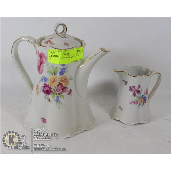 GERMAN POTTERY TEAPOT AND CREAMER