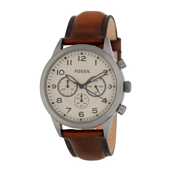 NEW FOSSIL TRIPLE CHRONO 42MM DIAL MSRP $275 WATCH WITH BROWN LEATHER STRAP. JEWELLERY.