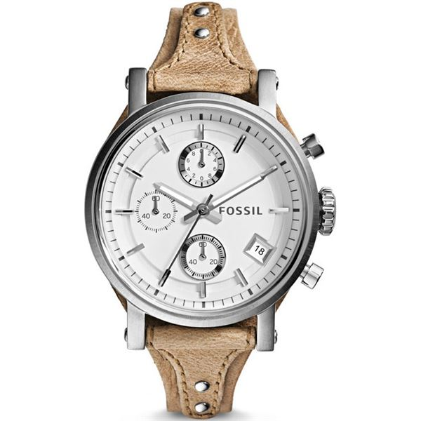 NEW FOSSIL TRIPLE CHRONO 38MM WHITE DIAL MSRP $245 LIGHT TAN BROWN LEATHER BAND WATCH. JEWELLERY