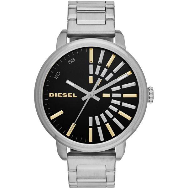 NEW DIESEL GUNMETAL TONE BLACK 49MM DIAL MSRP $219 ST. STEEL WATCH. JEWELLERY