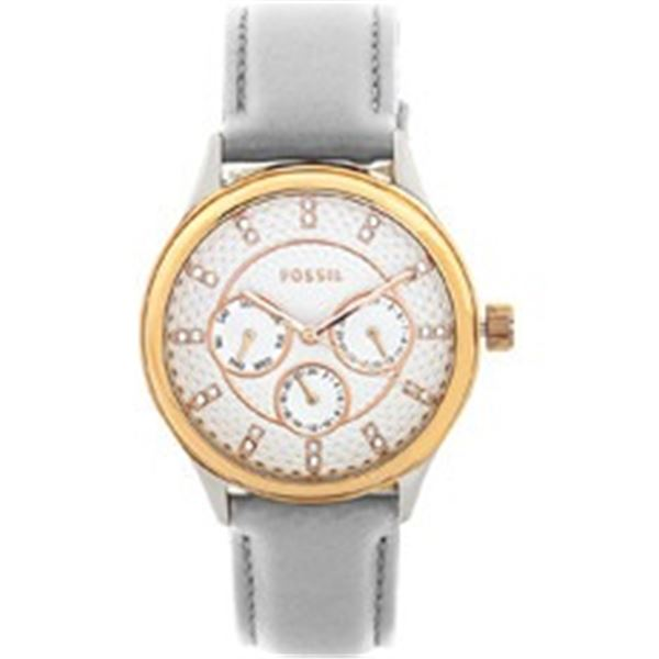 NEW FOSSIL TRIPLE CHRONO WATCH W/ CRYSTAL MARKERS 36MM W/ GRAY TONE LEATHER BAND. JEWELLERY.