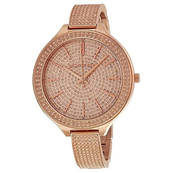 NEW MICHAEL KORS RUNWAY ROSE-GOLD MSRP $490 43MM CRYSTAL STUDDED WATCH. JEWELLERY.