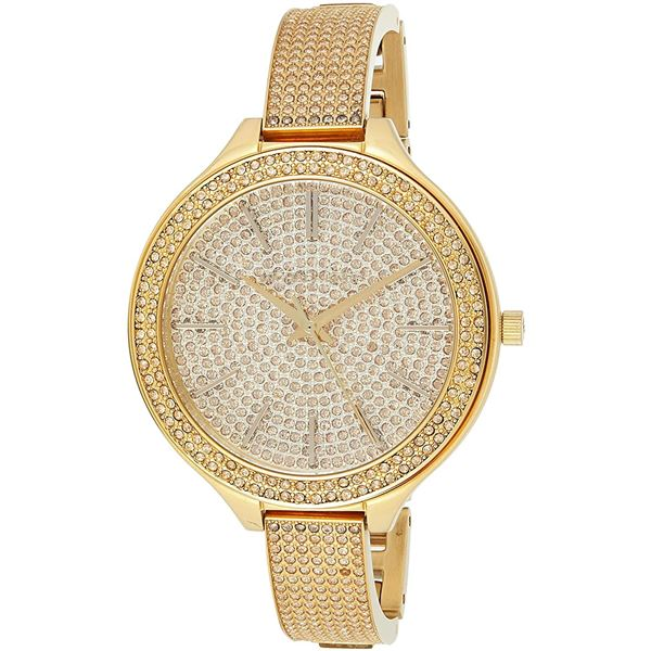 NEW MICHAEL KORS RUNWAY GOLD-TONE MSRP $490 43MM CRYSTAL STUDDED WATCH. JEWELLERY.