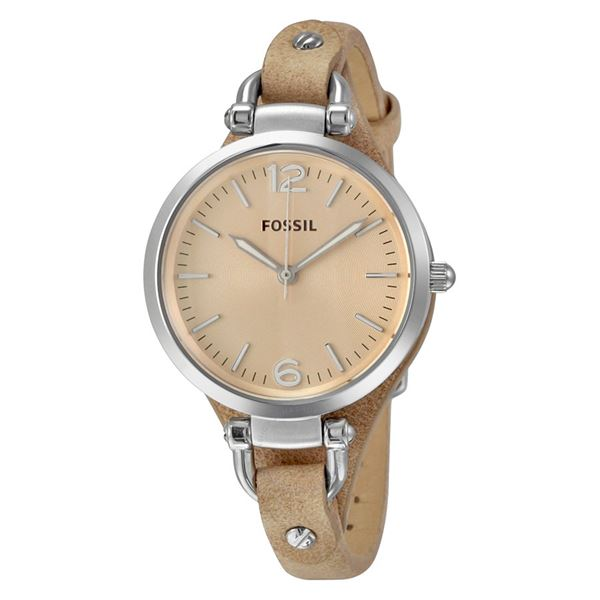 NEW FOSSIL WATCH TAN LEATHER BAND. MSRP $190 32MM. JEWELLERY.