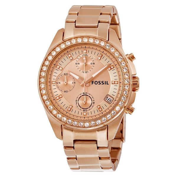 NEW FOSSIL TRIPLE CHRONO ROSE GOLD TONE MSRP $209 38MM CRYSTAL BEZEL WATCH. JEWELRY.