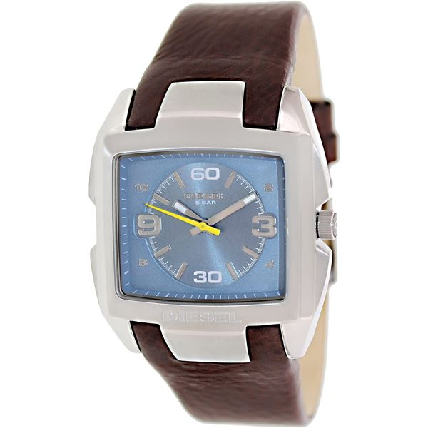 NEW DIESEL BLUE DIAL/ BROWN LEATHER BAND MSRP $249 UNISEX WATCH. JEWELLERY.