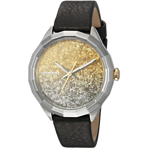 NEW DIESEL 36MM GOLD/SILVER GLITTER DIAL MSRP $209 LEATHER STRAP WATCH. JEWELLERY.