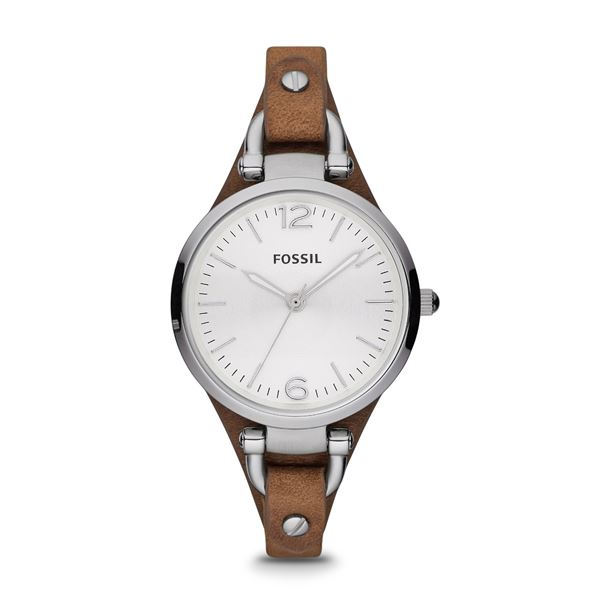 NEW FOSSIL WHITE DIAL BROWN LEATHER STRAP 32MM WATCH. MSRP $135. JEWELLERY
