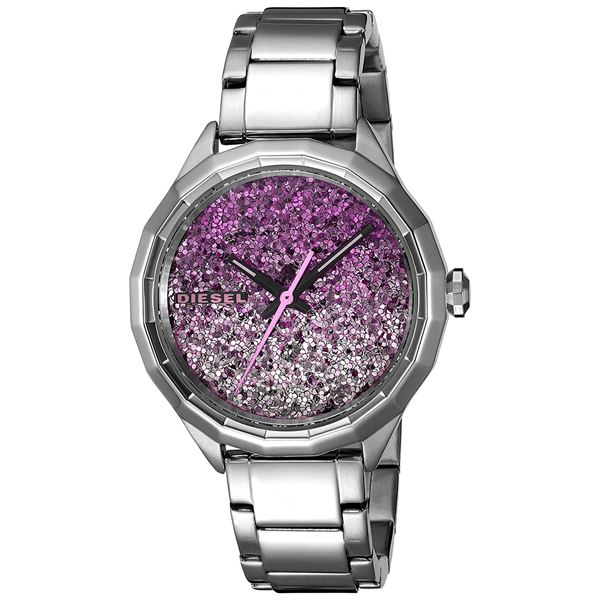 NEW DIESEL SILVER TONE GLITTERED DIAL MSRP $299 JEWELLERY.