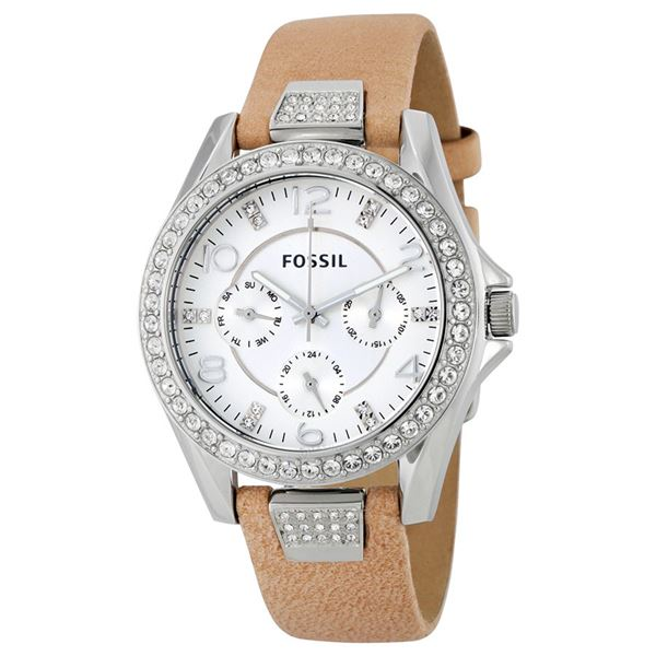 NEW FOSSIL TRIPLE CHRONO WATCH TAN LEATHER DIAL CRYSTAL BEZEL. JEWELLERY