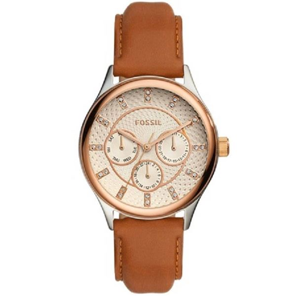 NEW FOSSIL TRIPLE CHRONO WATCH W/ CRYSTAL MARKERS 36MM W/ BROWN DIAL. JEWELLERY