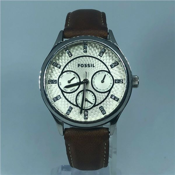 NEW FOSSIL SILVER TONE BROWN LEATHER CHRONO WATCH JEWELLERY.