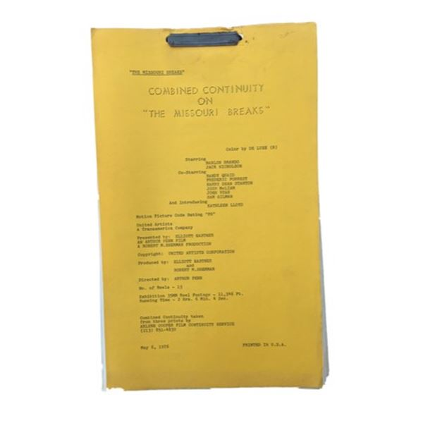 The Missouri Breaks Marlon Brando Script