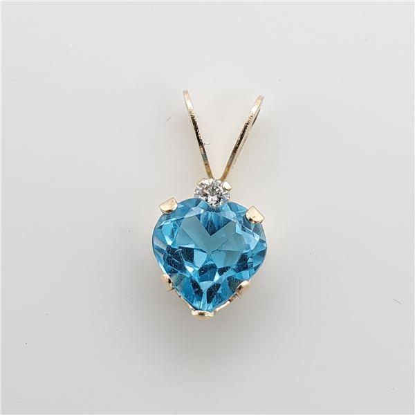 14K BLUE TOPAZ(0.4CT) DIAMOND(0.01CT) PENDANT