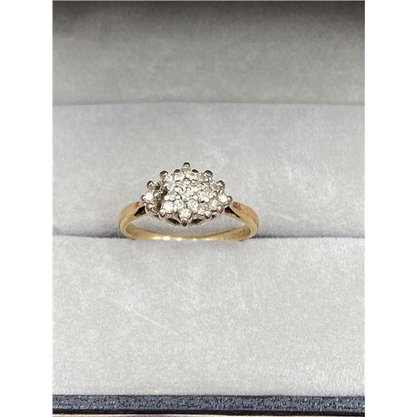 10K YELLOW GOLD RING WITH DIAMONDS (MISSING SOME)