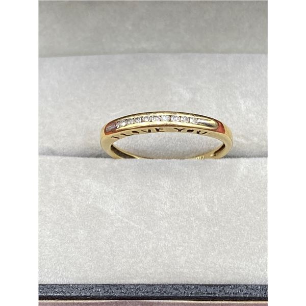 10K YELLOW GOLD RING WITH DIAMONDS INSCRIPTION (I LOVE YOU)