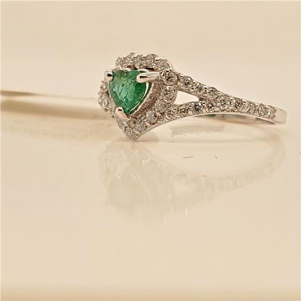 14K EMERALD DIAMOND(0.36CT) RING SIZE 6
