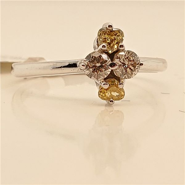 10K NATURAL BROWN DIAMOND(0.18CT) DIAMOND(0.2CT) RING SIZE 6.5
