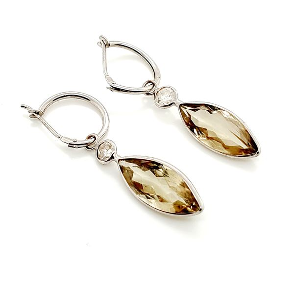 14K NATURAL ZULTANITE(4.5CT) DIAMOND(0.38CT) EARRINGS