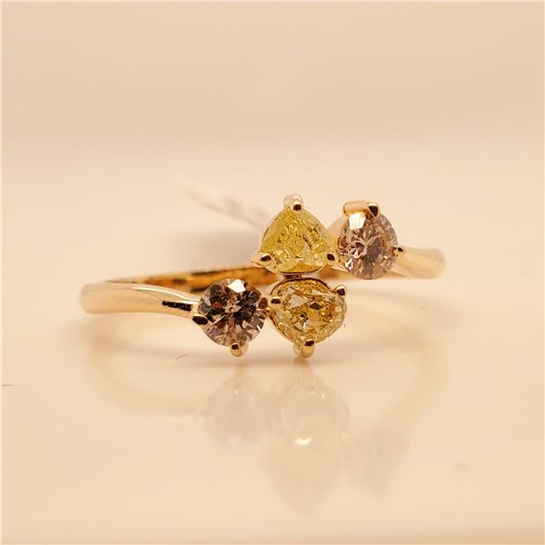 10K FANCY YELLOW&BROWN DIAMOND(0.36CT) DIAMOND(0.3CT) RING SIZE 6